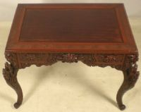 Heavily Carved Oriental Japanese Partners Desk